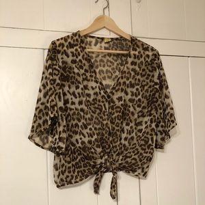 AUDREY leopard crop top